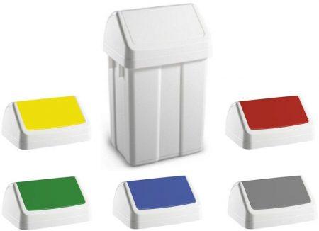 PATTY műanyag hulladékgyűjtő, 50l, színkódolt lengőfedéllel